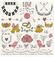 Wedding graphic set arrows hearts birds bells vector image