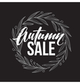 Autumnal sale round frame written with chalk on vector image