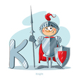Cartoons Alphabet - Letter K with funny Knight vector image