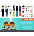 Clothing store Set of clothes and building vector image