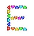 Letter E made of multicolored hearts vector image