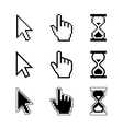 Pixel cursors icons - mouse cursor hand pointer vector image