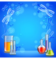 Science background with test tubes and flasks vector image