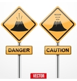 Warning road signs about the dangers of volcano vector image