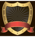 Golden shield with rd ribbon vector image vector image