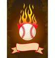 Burning baseball vector image