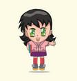 cute anime chibi little girl vector image
