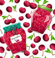 seamless texture with preserve cherry vector image vector image
