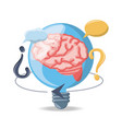 bulb with brain inside and chat bubbles vector image