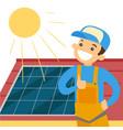 caucasian white constructor installing solar panel vector image