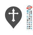 christian cross marker icon with free bonus vector image