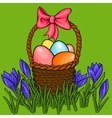 Easter egg basket with spring flowers vector image