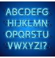 Glowing Neon Blue Alphabet vector image