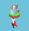 isometric businessman carrying business building vector image