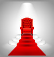 Royal armchair on stairs with red carpet vector image