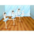 Three ballet dancers inside the studio vector image