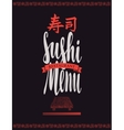 menu cover with tray of sushi and chopsticks vector image vector image