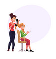hairdresser drying hair of blond woman with vector image