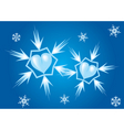 two hearts snowflakes vector image