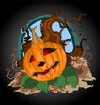 halloween pumpkin scene vector image