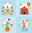Circus Tent Clown Elephant Bear Show vector image