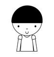 black icon cute little boy cartoon vector image
