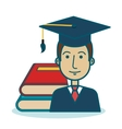 cartoon student graduation books graphic vector image
