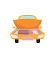 flat cartoon yellow sedan car open hood vector image