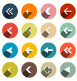 Flat Design Arrows with Shadows Set in Circles vector image
