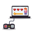 laptop control console princess play hearts vector image