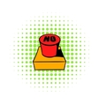 No red button icon comics style vector image
