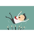 Successful businessman being thrown in the air vector image