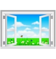 Open White Window with Scenery vector image vector image