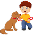 Cartoon boy with his dog isolated vector image