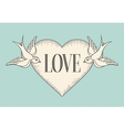 Set of old vintage ribbon banner with word Love vector image