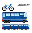 bicycle bus and train transportation set icon vector image