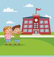 kids in school cartoon vector image