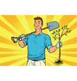 man gardener with a shovel and sapling vector image