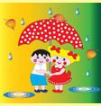 two children a boy and a girl under an umbrella vector image