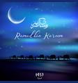 Ramadan kareem with walking camel caravan at night vector image