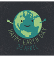Earth Day Earth smiling and reveals a hug Happy vector image vector image