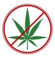 cannabis ban symbol vector image