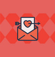 envelope and heart letter with cupids arrow vector image