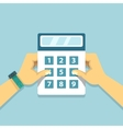 Hands holding calculator flat business vector image