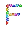 Letter F made of multicolored hearts vector image
