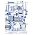 modern interior home library bookshelves hand vector image
