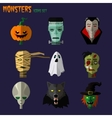 Monsters set of icons vector image