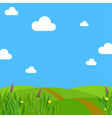 Spring meadow flowers clear sky and clouds vector image