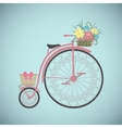 Retro Bicycle in flat style with basket vector image
