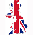 Map of the UK with national flag vector image vector image